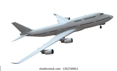 a plane on the White Blackground /3D rendering - Illustration