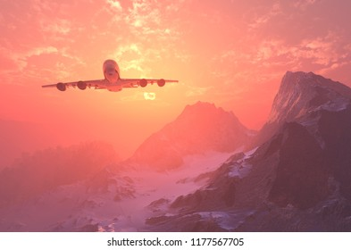 Plane over the mountains at sunset..,3d render