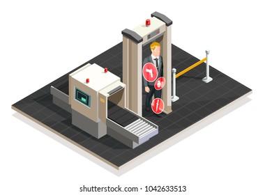 Plane passenger passes xray check at airport on white background 3d isometric  illustration