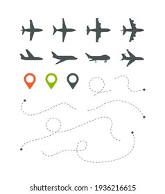 Plane route. Flight directionally striped lines sky trace for travel symbols set