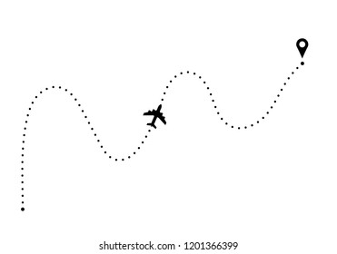 Plane route with point of departure and arrival.