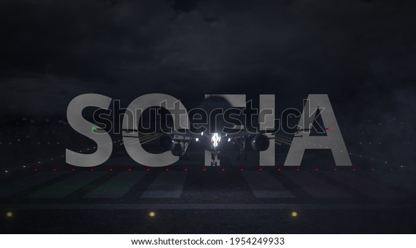 Plane taking off from the airport and sofia city name.  animation 3D rendering