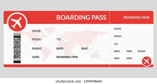 Plane ticket. Airline boarding pass template. Airport and plane pass document.