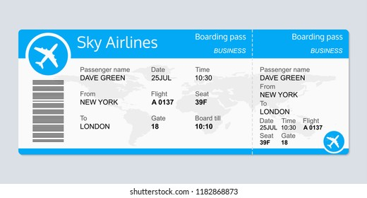 Plane ticket template. Airplane flight ticket blank. Boarding pass.