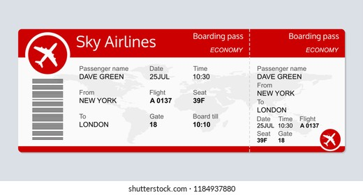 Plane ticket template. Airplane flight ticket blank. Boarding pass.