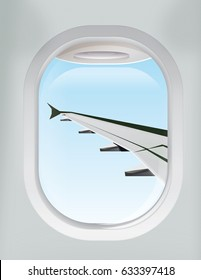 A Plane wing as viewed in flight from the aircraft window.