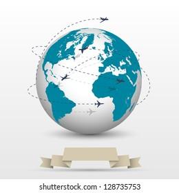 Planes flying around the globe. Raster version