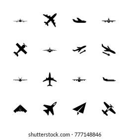 Planes icons. Flat Simple Icon - Black Illustration on White Background.