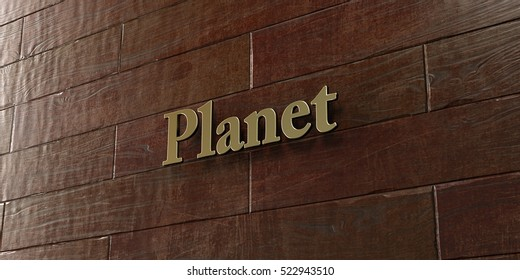 Planet - Bronze plaque mounted on maple wood wall  - 3D rendered royalty free stock picture. This image can be used for an online website banner ad or a print postcard.
