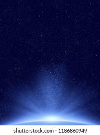 Planet earth with appearing sunlight on night sky and stars background
