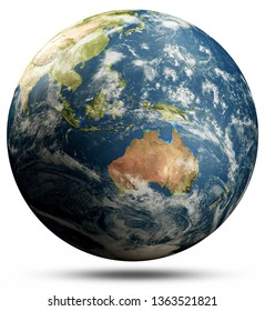 Planet Earth - Australia and Oceania, Pacific ocean. Elements of this image furnished by NASA. 3d rendering