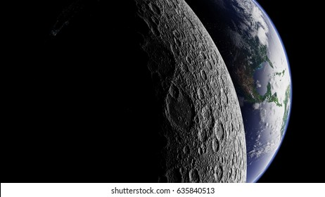 planet Earth behind the far side of the Moon (3d render, elements of this image are furnished by NASA)