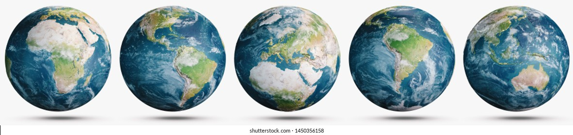 Planet Earth clouds globe set. Elements of this image furnished by NASA. 3d rendering