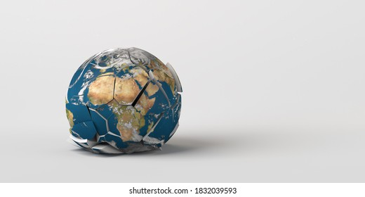 Planet earth crashed to the ground and broken. Earth texture provided by Nasa. 3d illustration. Fragile planet.
