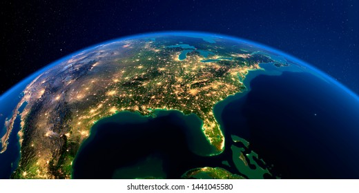 Planet Earth with detailed exaggerated relief at night lit by the lights of cities. North America. USA. Gulf of Mexico and Florida. 3D rendering. Elements of this image furnished by NASA