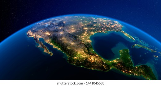 Planet Earth with detailed exaggerated relief at night lit by the lights of cities. Mexico. 3D rendering. Elements of this image furnished by NASA