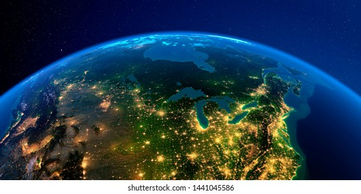 Planet Earth with detailed exaggerated relief at night lit by the lights of cities. Detailed Earth at night. The northern U.S. states and Canada. 3D rendering. Elements of this image furnished by NASA