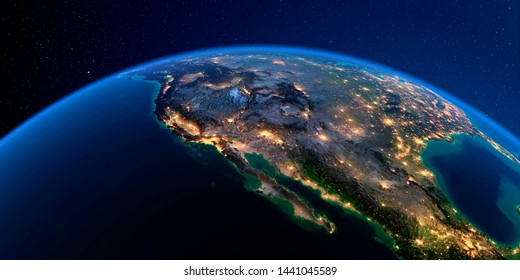 Planet Earth with detailed exaggerated relief at night lit by the lights of cities. Gulf of California, Mexico and the western U.S. states. 3D rendering. Elements of this image furnished by NASA