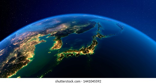 Planet Earth with detailed exaggerated relief at night lit by the lights of cities. Part of Asia, Japan and Korea, Japanese sea. 3D rendering. Elements of this image furnished by NASA