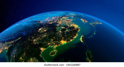 Planet Earth with detailed exaggerated relief at night lit by the lights of cities. Eastern China and Taiwan. 3D rendering. Elements of this image furnished by NASA