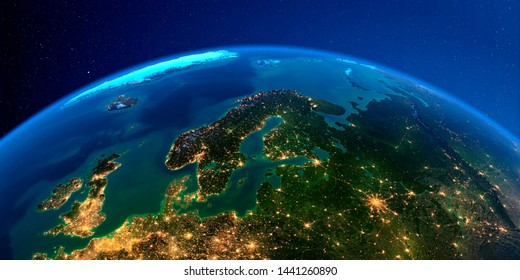 Planet Earth with detailed exaggerated relief at night lit by the lights of cities. Europe. Scandinavia. 3D rendering. Elements of this image furnished by NASA