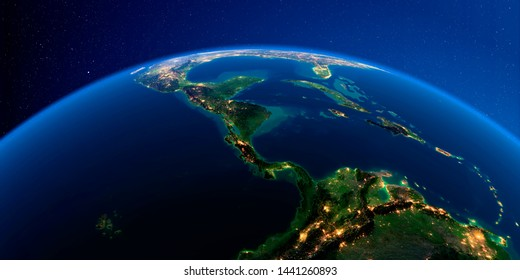 Planet Earth with detailed exaggerated relief at night lit by the lights of cities. The countries of Central America. 3D rendering. Elements of this image furnished by NASA