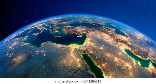 Planet Earth with detailed exaggerated relief at night lit by the lights of cities. Africa and Middle East. 3D rendering. Elements of this image furnished by NASA