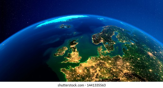 Planet Earth with detailed exaggerated relief at night lit by the lights of cities. urope. United Kingdom and the North Sea. 3D rendering. Elements of this image furnished by NASA
