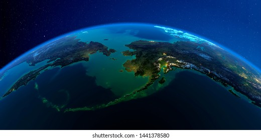 Planet Earth with detailed exaggerated relief at night lit by the lights of cities. Chukotka, Alaska and the Bering Strait. 3D rendering. Elements of this image furnished by NASA