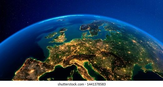 Planet Earth with detailed exaggerated relief at night lit by the lights of cities. Central Europe. 3D rendering. Elements of this image furnished by NASA