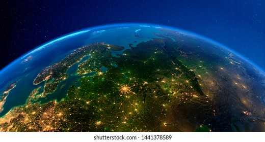 Planet Earth with detailed exaggerated relief at night lit by the lights of cities. European part of Russia. 3D rendering. Elements of this image furnished by NASA