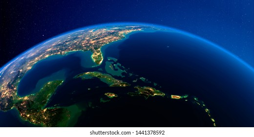 Planet Earth with detailed exaggerated relief at night lit by the lights of cities. Caribbean islands. Cuba, Haiti, Jamaica. 3D rendering. Elements of this image furnished by NASA