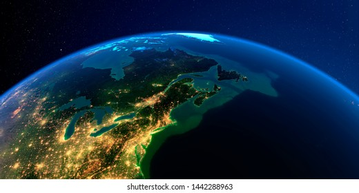 Planet Earth with detailed exaggerated relief at night lit by the lights of cities. Northeast US and Eastern Canada. 3D rendering. Elements of this image furnished by NASA