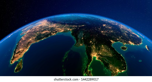 Planet Earth with detailed exaggerated relief at night lit by the lights of cities. The eastern part of India, Bangladesh, Nepal, Bhutan, Myanmar. 3D rendering. Elements of this image furnis