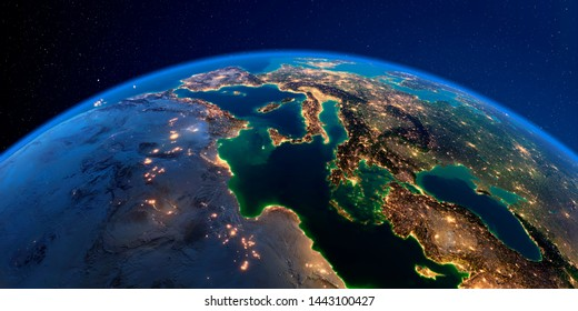 Planet Earth with detailed exaggerated relief at night lit by the lights of cities. Africa and Europe. The waters of the Mediterranean Sea. 3D rendering. Elements of this image furnished by NASA