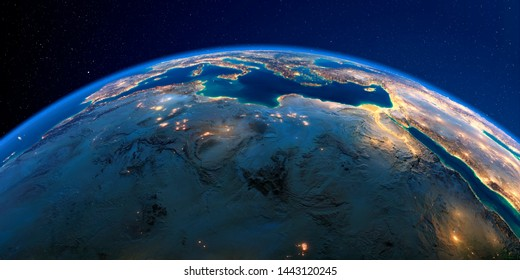 Planet Earth with detailed exaggerated relief at night lit by the lights of cities. North Africa. Libya and the Mediterranean Sea. 3D rendering. Elements of this image furnished by NASA