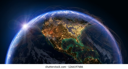 Planet Earth with detailed relief and atmosphere is covered with a network of air routes based on real data. North America. 3D rendering. Elements of this image furnished by NASA