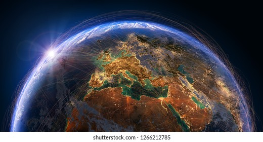 Planet Earth with detailed relief and atmosphere is covered with a network of air routes based on real data. Europe. 3D rendering. Elements of this image furnished by NASA