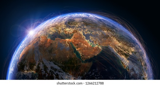 Planet Earth with detailed relief and atmosphere is covered with a network of air routes based on real data. Middle East. 3D rendering. Elements of this image furnished by NASA