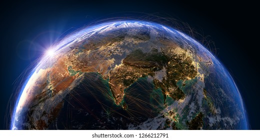 Planet Earth with detailed relief and atmosphere is covered with a network of air routes based on real data. India. South-east Asia. 3D rendering. Elements of this image furnished by NASA