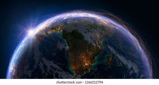 Planet Earth with detailed relief and atmosphere is covered with a network of air routes based on real data. South Africa and Madagascar. 3D rendering. Elements of this image furnished by NASA