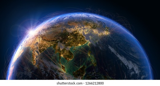Planet Earth with detailed relief and atmosphere is covered with a network of air routes based on real data. Asian countries. 3D rendering. Elements of this image furnished by NASA