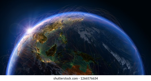 Planet Earth with detailed relief and atmosphere is covered with a network of air routes based on real data. Pacific Ocean. Indonesia. 3D rendering. Elements of this image furnished by NASA