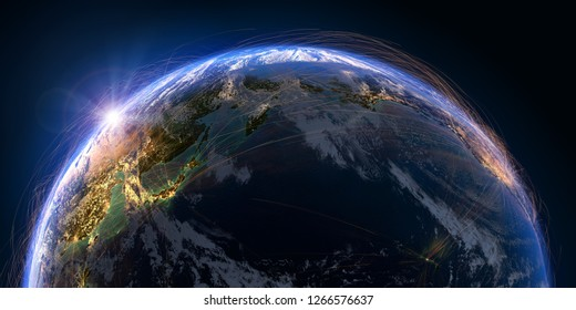 Planet Earth with detailed relief and atmosphere is covered with a network of air routes based on real data. Pacific Ocean. 3D rendering. Elements of this image furnished by NASA