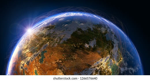 Planet Earth with detailed relief and atmosphere is covered with a network of air routes based on real data. Russia. 3D rendering. Elements of this image furnished by NASA