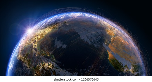 Planet Earth with detailed relief and atmosphere is covered with a network of air routes based on real data. Atlantic Ocean. 3D rendering. Elements of this image furnished by NASA