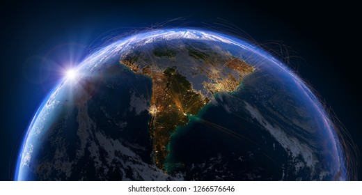 Planet Earth with detailed relief and atmosphere is covered with a network of air routes based on real data. South America. 3D rendering. Elements of this image furnished by NASA