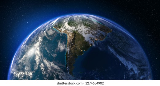Planet Earth with detailed relief and atmosphere. South America. 3D rendering. Elements of this image furnished by NASA