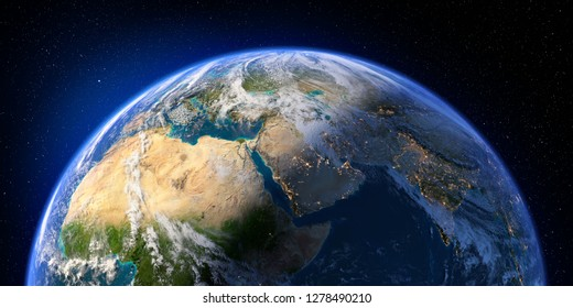 Planet Earth with detailed relief and atmosphere. Day and Night. East Africa and Middle East. 3D rendering. Elements of this image furnished by NASA