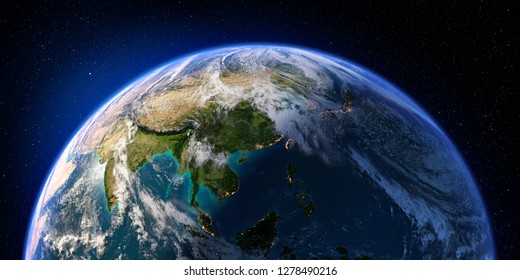 Planet Earth with detailed relief and atmosphere. Day and Night. Asia. 3D rendering. Elements of this image furnished by NASA